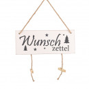 Wooden sign wish list, L30cm, H12cm, white